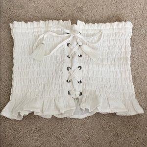 white corset ruffled tube top